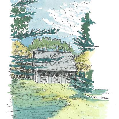 Little Barn Watercolor