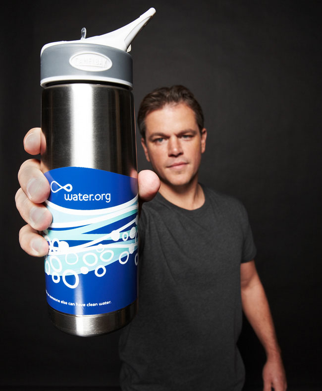 Matt Damon With Bottle