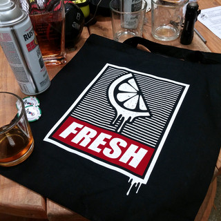 Fresh Made Image Screen Printed Strip Flock Totes