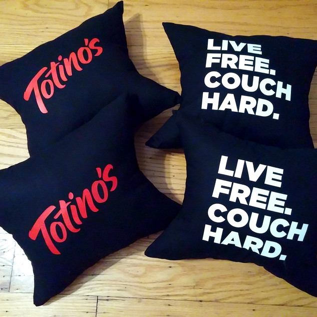 Tostino's Custom Made Pillows with Heat Transfer Graphics