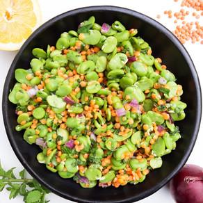 Salade de fèves et lentilles corail