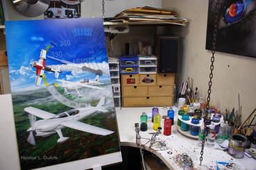 Airbrush paint on aluminum panel