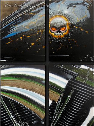 Airbrush paint on 9 pieces of canvas