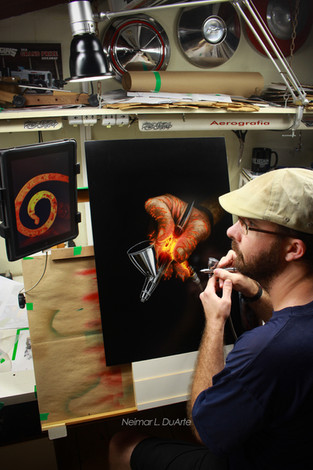 Airbrush Artist Day piece process photo.