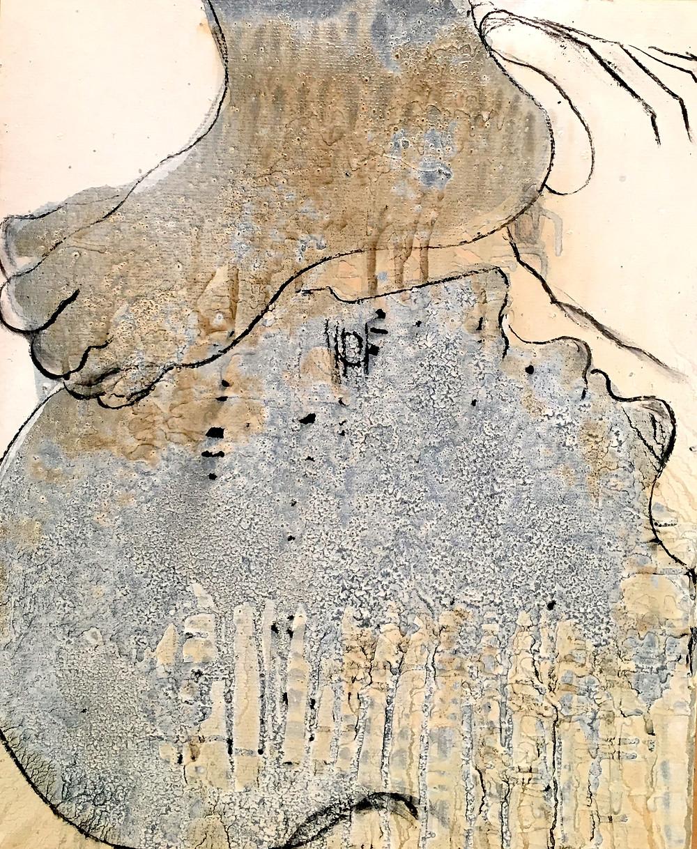 30 x 40 cm. huile et goudron sur papier. 2017.