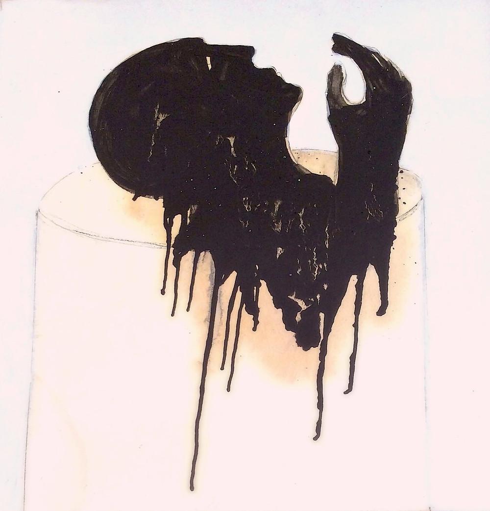 © Mahi BineBine 2014 - 80 x 80 cm huile et goudron sur papier