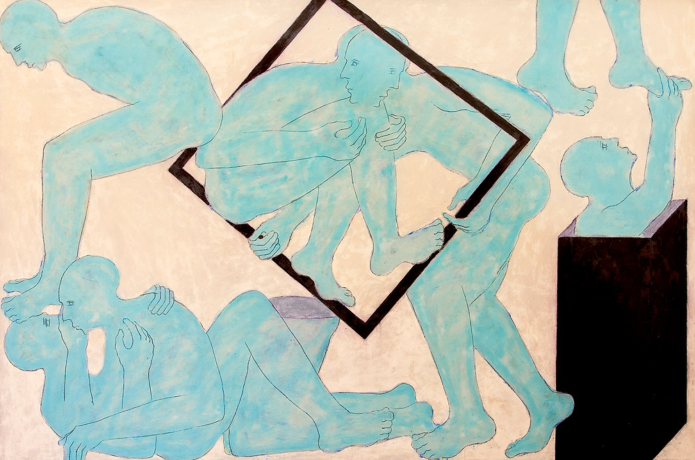 Mahi Binebine, Untitled, 2017, Wax and pigment on wood, 200 x 300 cm
