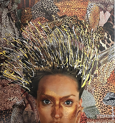"Tableau en collages ""Leopard Girl"" art jungle"