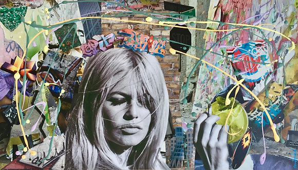 Tableau collages papier brigitte bardot Graff