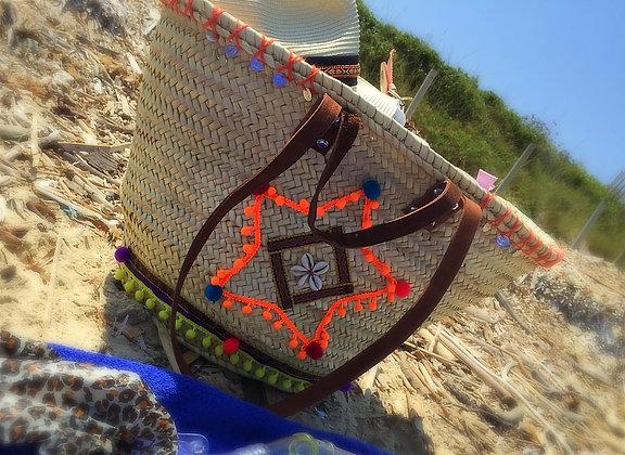 Panier de plage osier customisé boheme