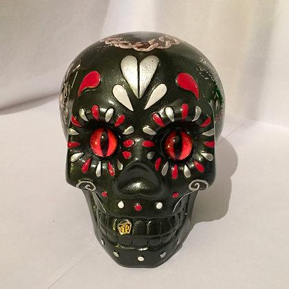 Sculpture Pop art Crâne tête de mort noire