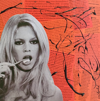Tableau collages enihpled brigitte bardot art