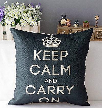 Housse de coussin keep calm noir