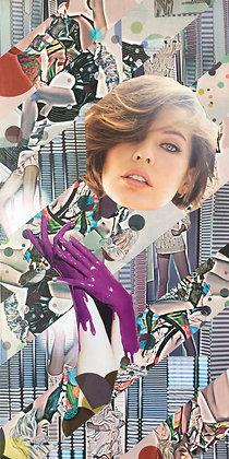 Tableau en collages Milla Jovovich art