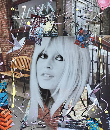Tableau collages papier brigitte bardot art