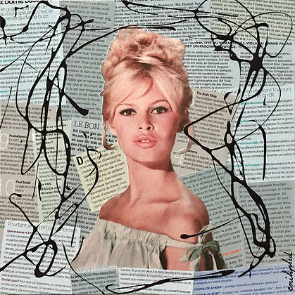 Tableau collages papier enihpled brigitte bardot bleu