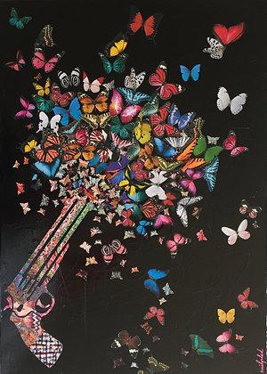 Tableau collages papillons art