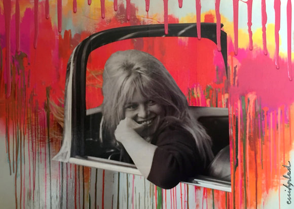 Tableau en collages enihpled Brigitte Bardot peinture