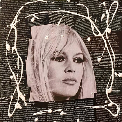 Tableau collages papier enihpled brigitte bardot noir