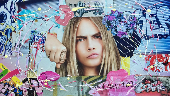 Tableau collages cara delevingne art