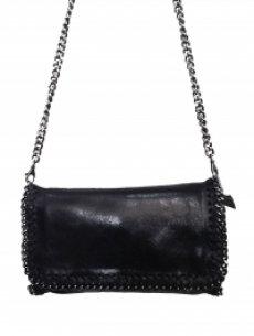 sac noir en cuirbrillantavec bandoulière