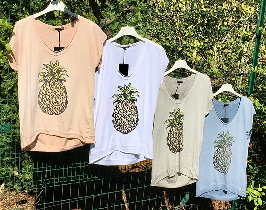 Tee shirt coton Ananas 4 couleurs