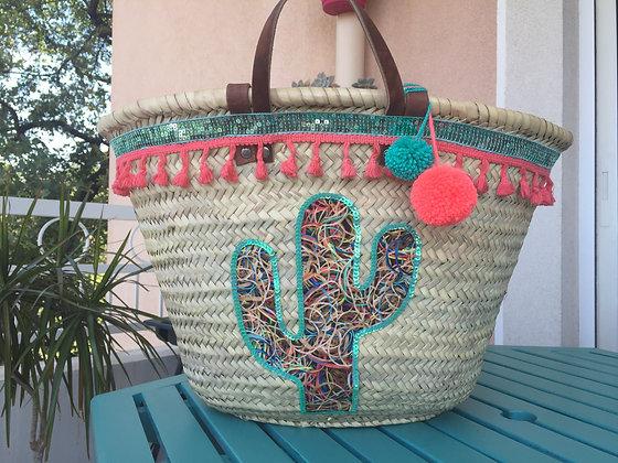 Panier de plage osier cactus paillettes