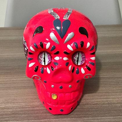statue Sculpture Pop art Crâne tête de mort rose