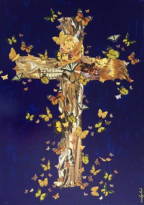 Toile collages croix doré art