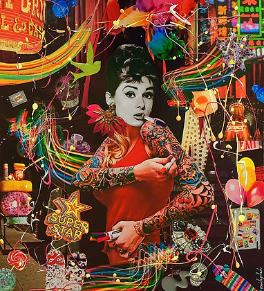 Tableau collages papier Audrey Hepburn art