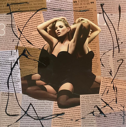 Tableau collages enihpled Kate Moss sexy art
