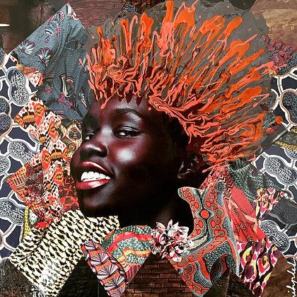 Tableau en collages enihpled African girl art leopard