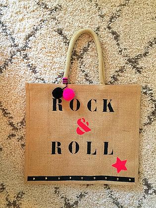 """Cabas Toile de Jute """"Rock&Roll"""" aperçu recto"""