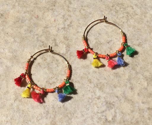 Boucles d'oreilles créoles pompons