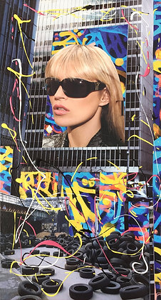 Tableau en collages Kate Moss street art