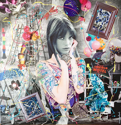 Tableau en collages papier Jane Birkin art