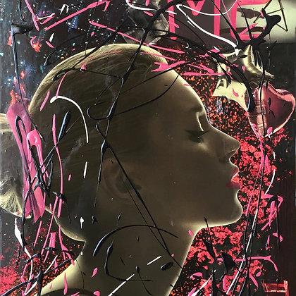 Tableau en collages Kate Moss art