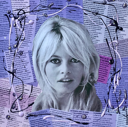 Tableau collages papier brigitte bardot purple art