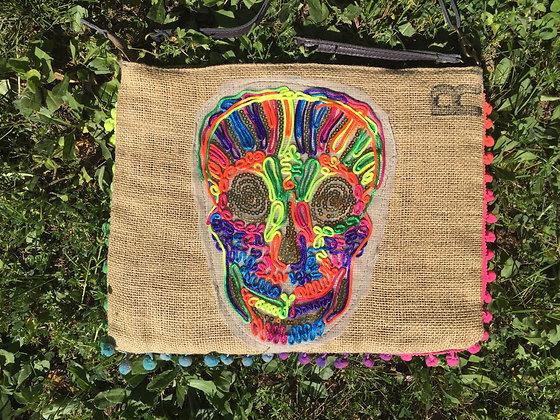 Pochette en toile de jute Tête de mort Skull recto