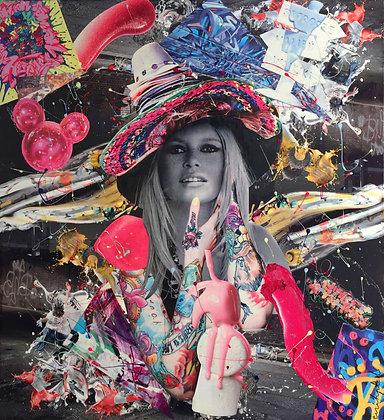 Tableau en collages papier brigitte bardot art
