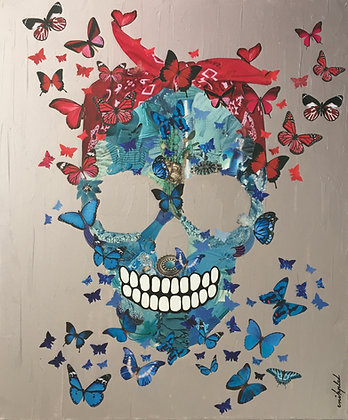 Tableau art skull pirate collages papillons