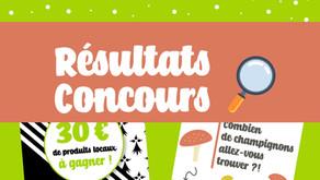 """Résultats Concours """"Chasse aux Champignons"""""""