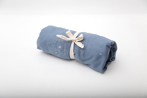 סדין למיטת תינוק / מיטת מעבר בצבע אינדיגו