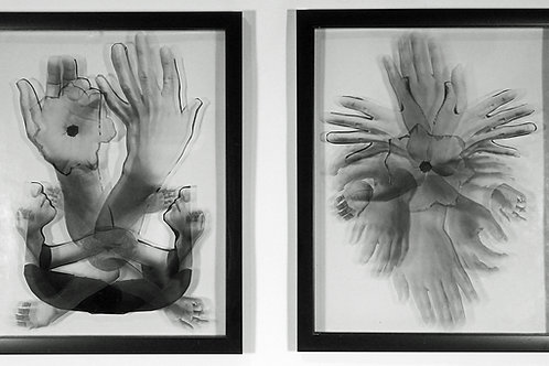 """""""Knowing, Seeing, Feeling, Through the Ether"""" Photo Collage Diptych, each panel"""