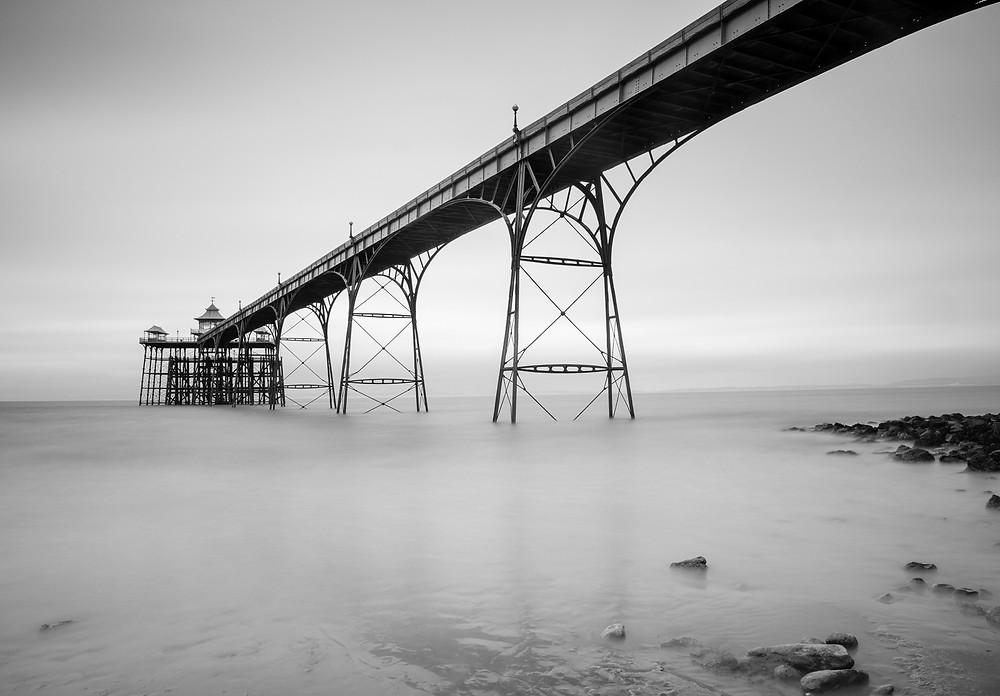 Horizontal long exposure image of Clevedon Pier