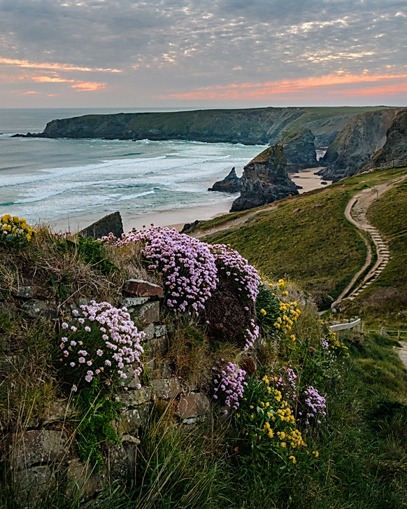 Bedruthan Steps in Spring