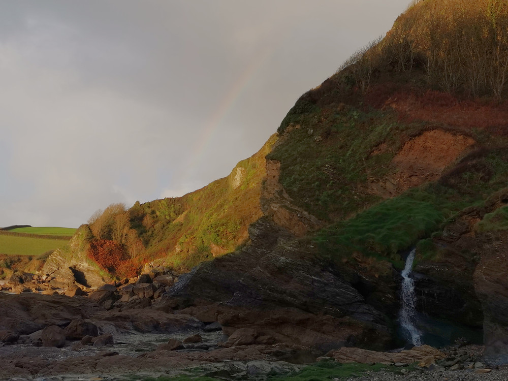 Hallane Beach is a small cove on the south coast of Cornwall which has it's own Waterfall and on this morning a rainbow appeared just as I was packing up.