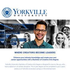 An email written for Yorkville University's Bachelor of Creative Arts.