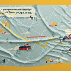 For McDonald's we wanted to help morning commuters find their way safely to the golden arches. Before a snowstorm this windshield tarp would be placed over select vehicles. Once the driver entered their car they would see the map highlighting the way to McDonald's.