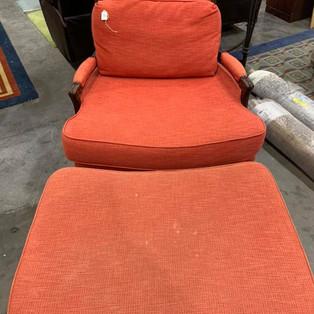 Orange Arm Chair w/foot stool